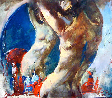 Untitled Nude in the Mirror 1994 24x20 Original Painting - Kim Tkatch