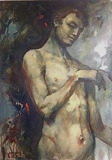 Untitled Male Nude 2003 37x26 Original Painting - Kim Tkatch