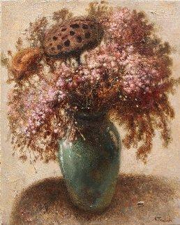 Flowers With Dried Lotus 2015 19x16 Original Painting by Kim Tkatch