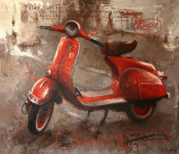 Red Vespa 2012 48x60 Original Painting by Kim Tkatch