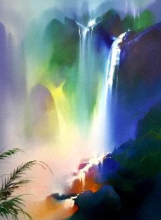 Untitled Landscape Painting 1992 52x44 Original Painting - Thomas Leung