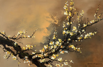 Yellow Plum Blossom 2018 20x30 Original Painting - Thomas Leung