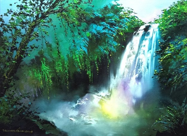 Rainbow Under the Falls 2018 28x20 Original Painting by Thomas Leung