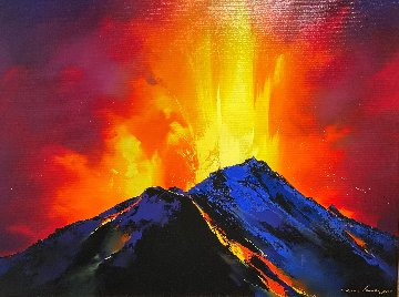 Volcanic Roar 2019 34x44 Original Painting - Thomas Leung