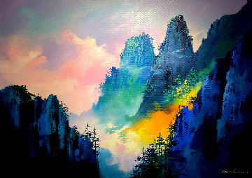 Magical Mountain 2018 39x55 Original Painting - Thomas Leung