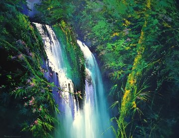 Hidden Falls 2015 45x57 Original Painting - Thomas Leung