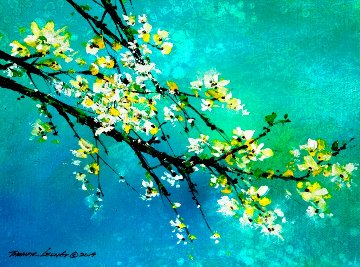 White Blossom 2019 13x18 Original Painting - Thomas Leung
