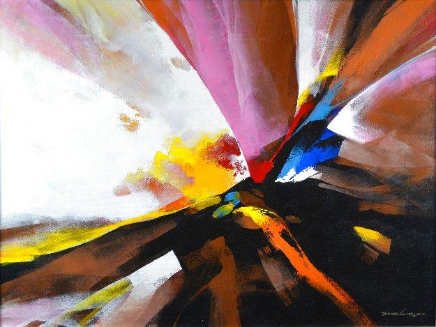 Burst 2015 35x47 Original Painting by Thomas Leung