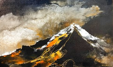 Grisaille Mountain 2019  29x49 Original Painting - Thomas Leung