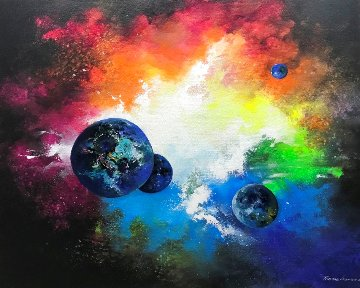 Outer Space 2018 31x39 Original Painting - Thomas Leung