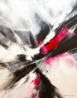 Red Motion 2018 39x31 Original Painting - Thomas Leung