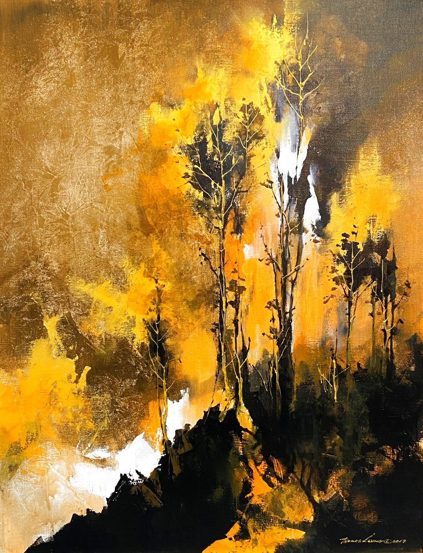 Grisaille Forest 2019 35x28 Original Painting by Thomas Leung