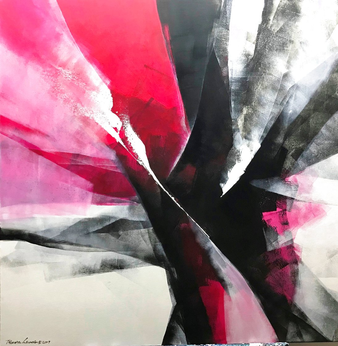 Action II 2017 39x39 Original Painting by Thomas Leung