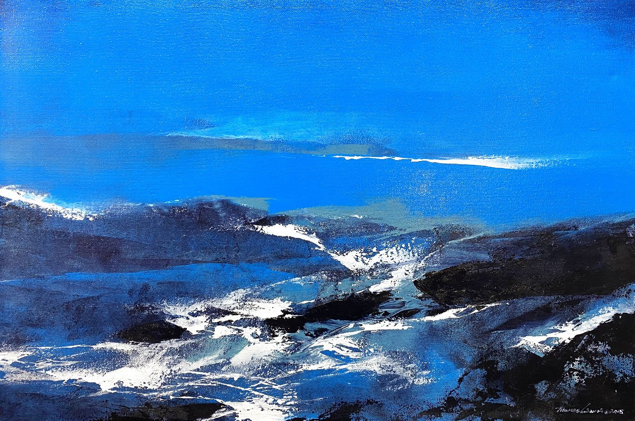 Blue 2015 24x36 Original Painting by Thomas Leung