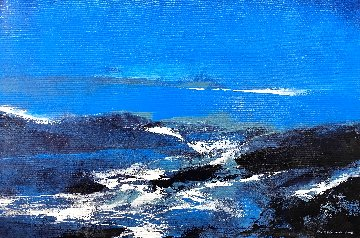 Blue 2015 24x36 Original Painting - Thomas Leung