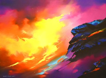 Lava 2017 23x31 Original Painting - Thomas Leung