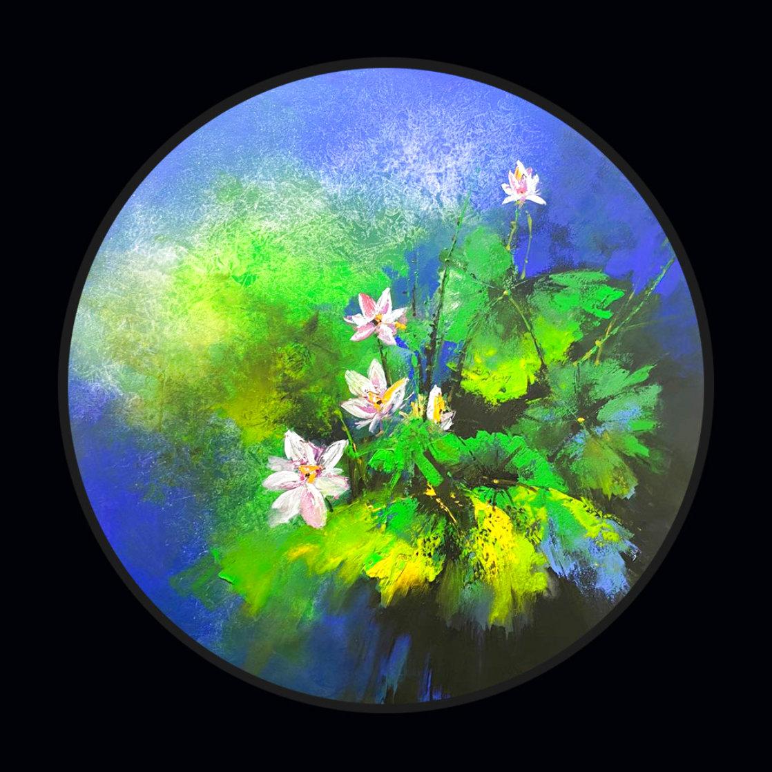Lotus Pond After Rain 2020 39x39 Original Painting by Thomas Leung