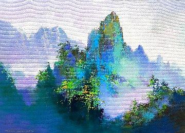 Misty Mountain 2020 19x27 Original Painting - Thomas Leung