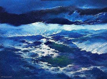 Sea 2017 35x47 Huge Original Painting - Thomas Leung
