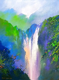 Mountain Falls 2020 39x30 Original Painting - Thomas Leung