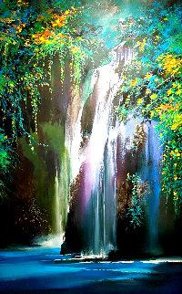 Lavender Falls 2019 59x35 Huge Original Painting - Thomas Leung