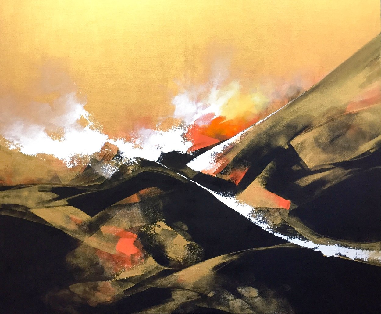 Golden Time 2014 59x70 Super Huge Original Painting by Thomas Leung