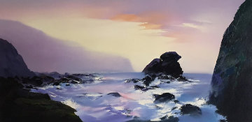 Shell Beach 24x48 Original Painting - Thomas Leung