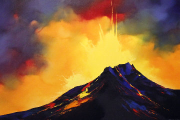 Fire Storm 2005 48x36 Hawaii Huge Original Painting - Thomas Leung