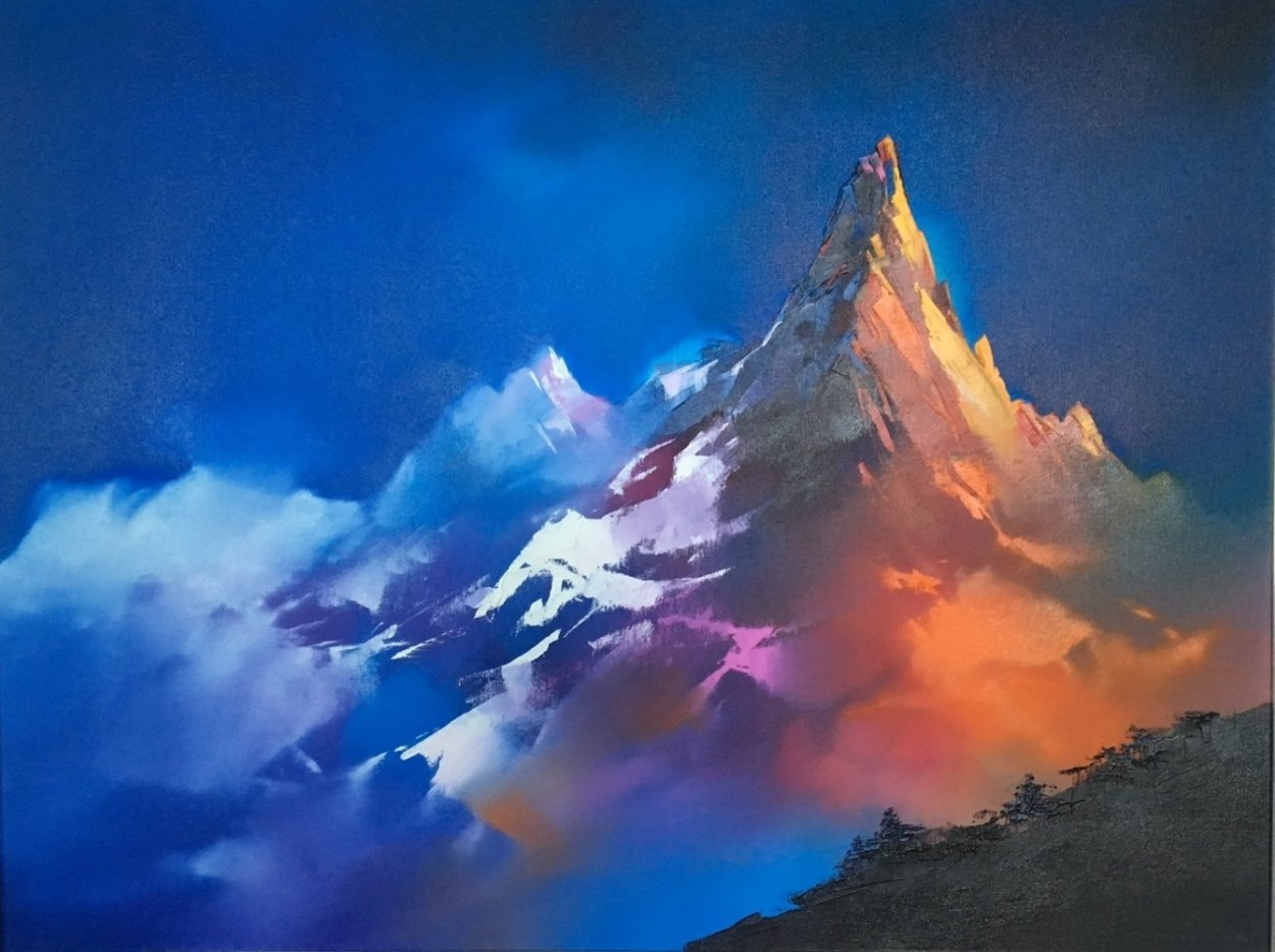 Alpine Glow 1990 48x38 Super Huge Original Painting by Thomas Leung
