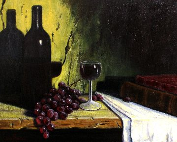 Glass of Wine 18x22 Original Painting - Ken Tobias