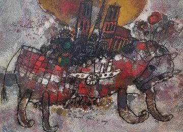 Un Cheval Fleuri De Songe 1969 17x22 Original Painting - Theo Tobiasse