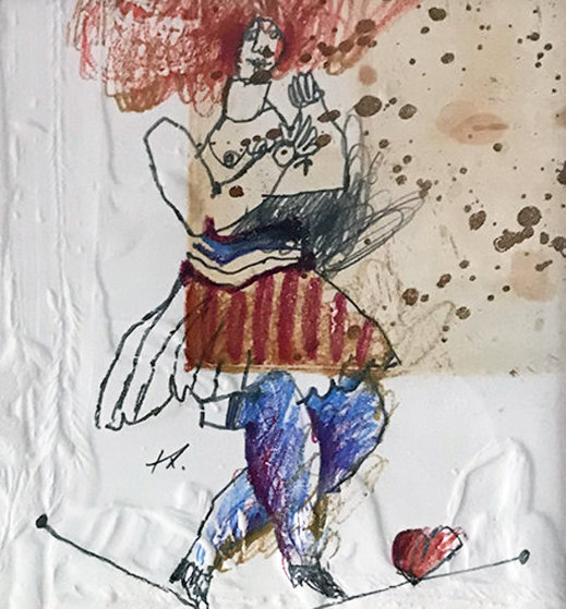 La Femme Et l'Amour 1983 14x14 Works on Paper (not prints) by Theo Tobiasse