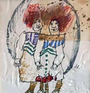 Se Souvenir Du Reve 1983  14x14 Works on Paper (not prints) - Theo Tobiasse