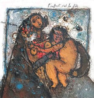 L'enfant C'est La Fete 1968 23x23  (Early) Original Painting - Theo Tobiasse
