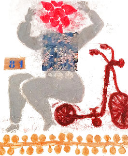 Femme Fleur Avec Bicyclette 1981 Limited Edition Print - Theo Tobiasse