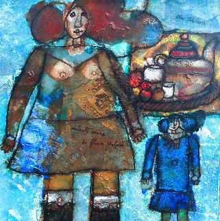 Enfants Venus De Fleuve Profund 34x34 Huge Original Painting - Theo Tobiasse