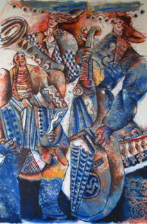 Orchestre Bleu Limited Edition Print - Theo Tobiasse