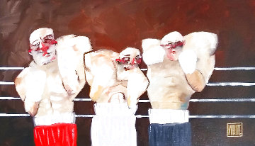 Wanna Fight 2006 26x38 Original Painting - Todd White