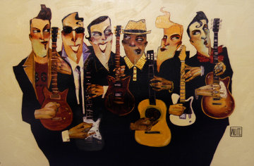 Six Strings 2007 Embellished Lennon, Garcia, Wood and the Boys Limited Edition Print by Todd White