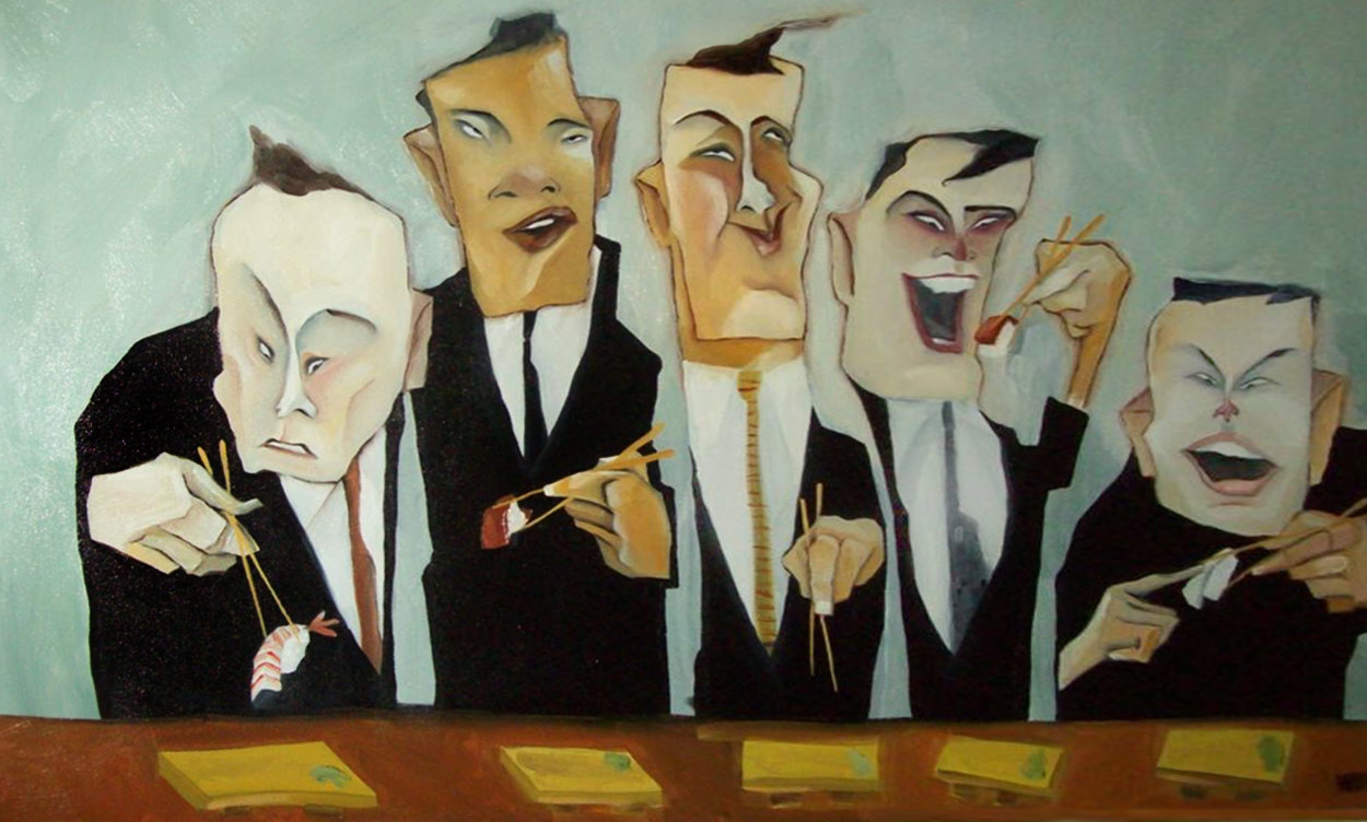 Power Lunch 2000 24x36 Huge Original Painting by Todd White