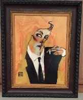 Smoker w/ Remarque 2009 26x32 Original Painting by Todd White - 1