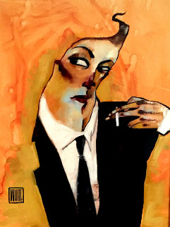 Smoker w/ Remarque 2009 26x32 Original Painting - Todd White