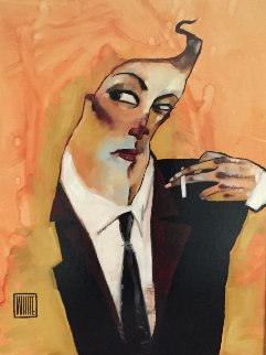 Remarque  (Smoker) 2009 26x32 Original Painting by Todd White