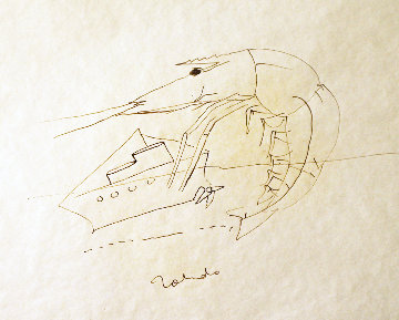 Shrimp And Boat Drawing 1974 8x12 Drawing - Francisco Toledo