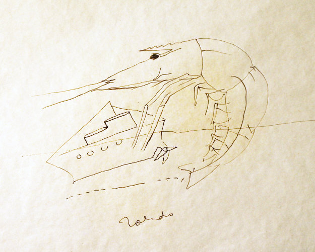 Shrimp And Boat Drawing 1974 8x12 Drawing by Francisco Toledo