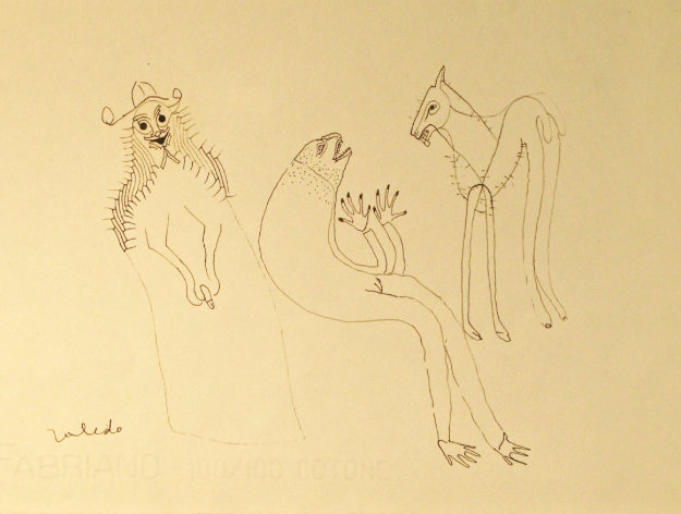 Double Sided Horse Drawing 1974 21x31 Drawing by Francisco Toledo