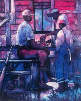 Afternoon Checkers 1991 Limited Edition Print by William Tolliver