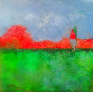 Orange Landscape  1980 30x30 Original Painting - William Tolliver