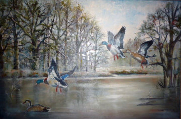 Ducks Over the Pond 1983 31x43 Original Painting - William Tolliver