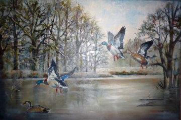 Ducks Over the Pond 1983 31x43 Huge Original Painting - William Tolliver